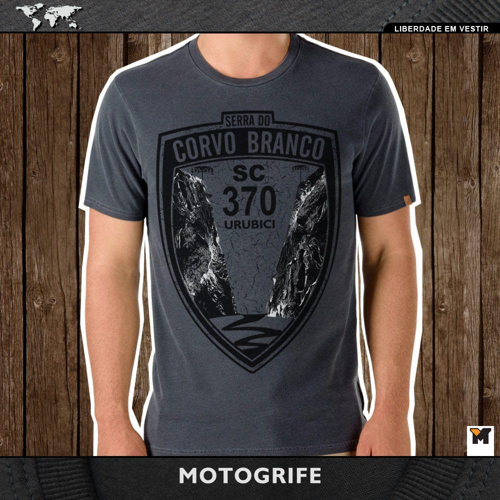 Camiseta Serra do Corvo Branco cinza chumbo estonada