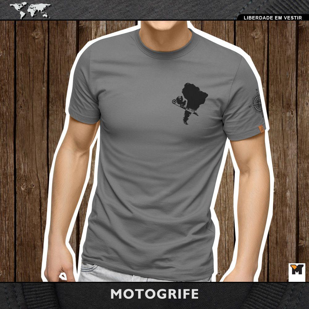 Camiseta Viagem de Moto América do Sul carimbos - cinza chumbo