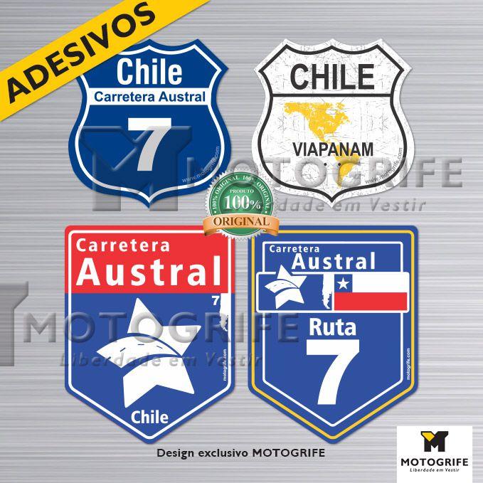 Carretera Austral Chile kit com 4 adesivos