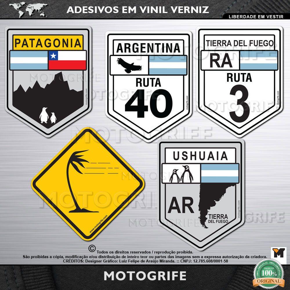 kit com 5 adesivos patagonia ruta 40 ruta 3 vento lateral ushuaia