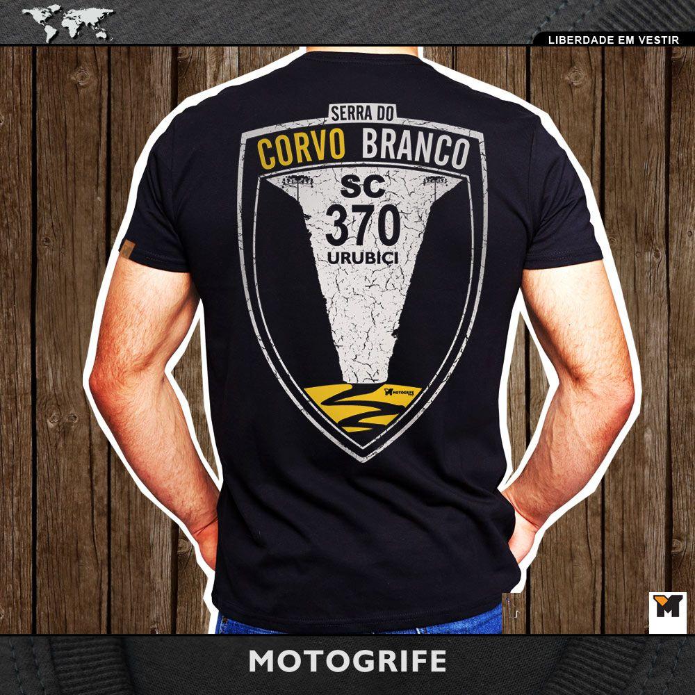 Serra do Corvo Branco preta t-shirt