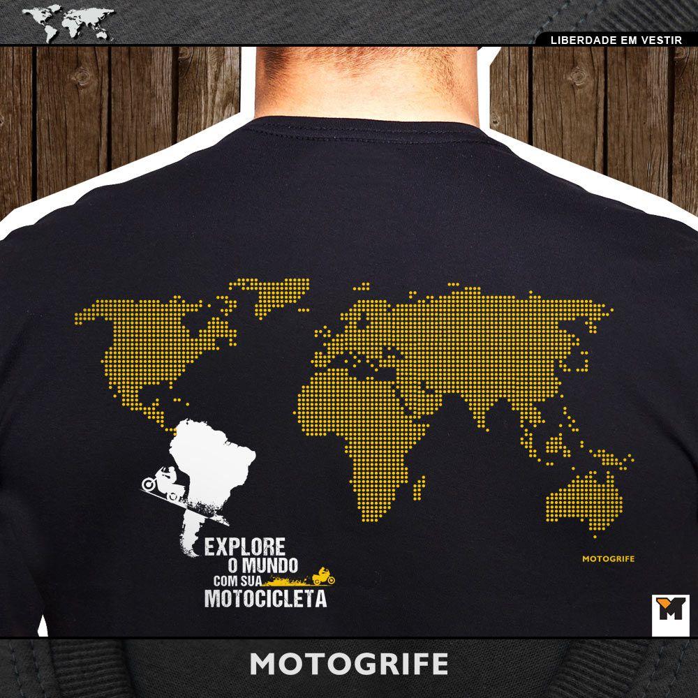 Viagem de Moto América do Sul VMAS manga longa mapa mundi