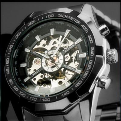 8d3f526d387 ... Relógio automático relógio de pulso dos homens Clássicos De Luxo  Transparente Esqueleto Mecânico Relógios de Marca ...