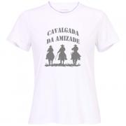 Camiseta: Cavalgada da amizade estampa prata - feminina