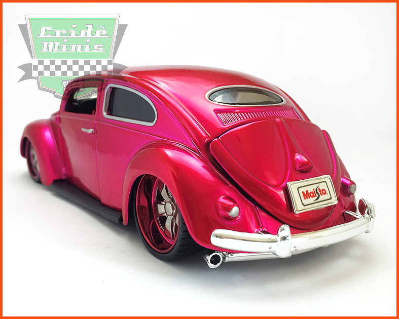 Fusca Oval Window Custom 1955 pink - escala 1/24