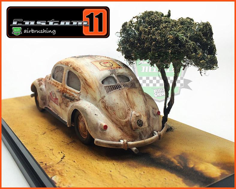 Fusca Split Rallye Monte Carlo 1950 Diorama/Caixa de acrílico 10 dias de produção - escala 1/43