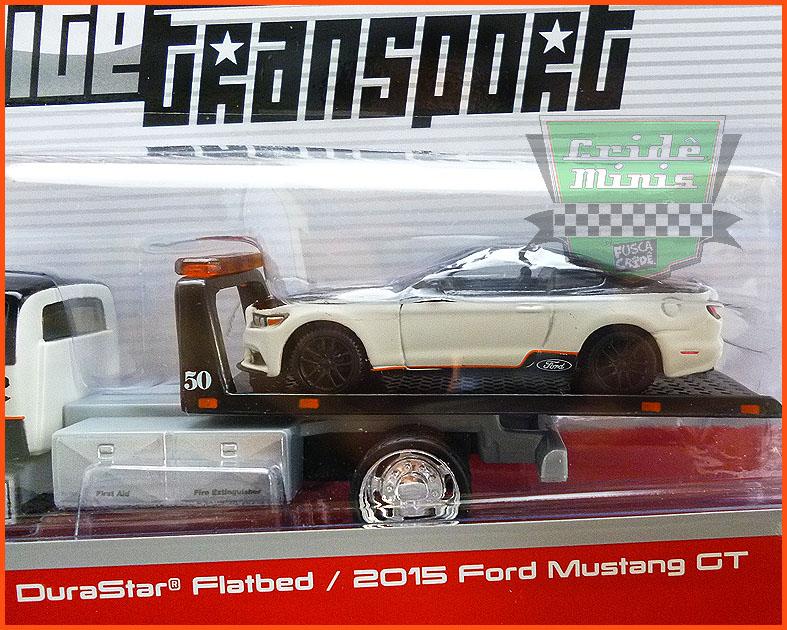 Ford Mustang Gt 2015 com Guincho Plataforma - Escala 1/64