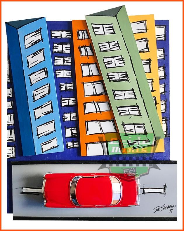 Painel Parede Metrópole & Chrysler C300 1955 - Escala 1/24