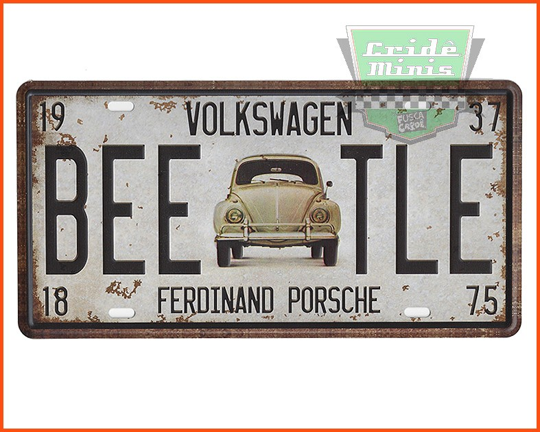 Placa decorativa Fusca Beetle - Metal