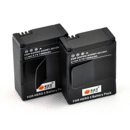 Kit Com Duas Baterias Para Go Pro Hero3+ Gopro Hero 3 Ahdbt-302