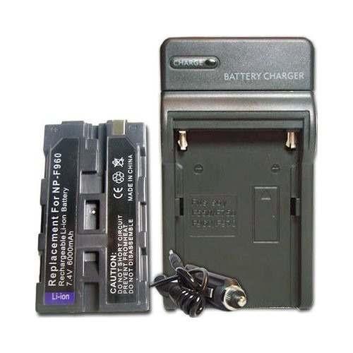 Kit Bateria Np-f960 Para Iluminador Yn-300 Led + Carregador