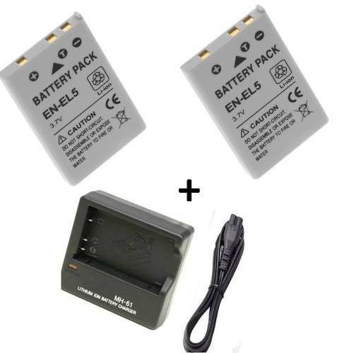 Kit 2 Baterias + Carregador En-el5 Enel5 Nikon Coolpix P100