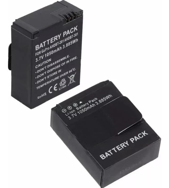 Kit com 2 Baterias Ahdbt-302 Para Go Pro Hero3+ Gopro Hero 3