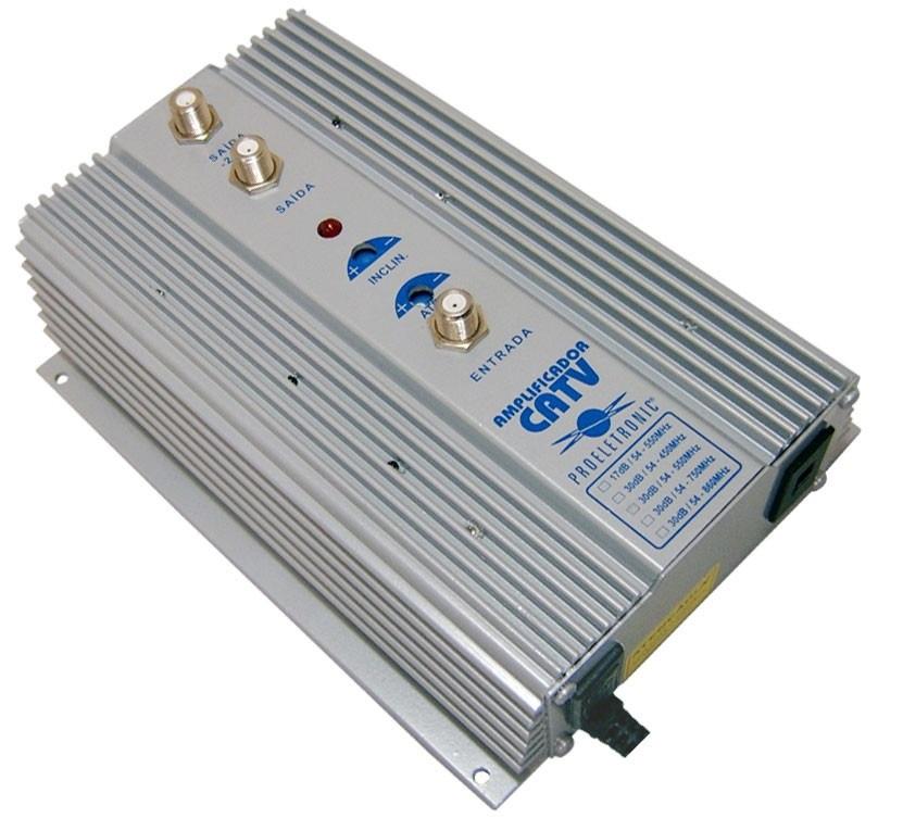 Amplificador de pot ncia uhf vhf catv 35db pqap 6350 for Amplificador tv cable coaxial