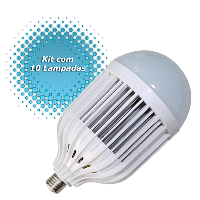 kit 10 lampada super led 50 watts bulbo pera residencial