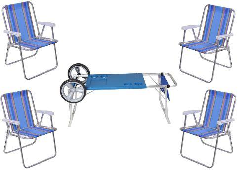 Kit Carrinho Mesa Praia Com Cadeiras Alta Aluminio - Loja Portal