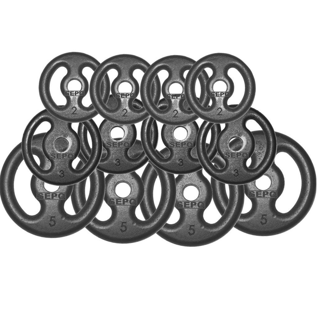 Kit Anilhas Ferro Fundido 40 Kg + Barras com Presilhas - Loja Portal