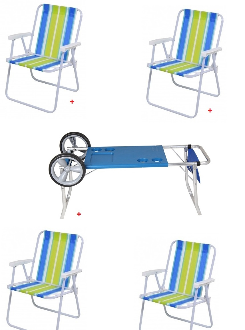 Jogo com Carrinho Praia + 4 Cadeira de Praia Alta - Mor - Loja Portal