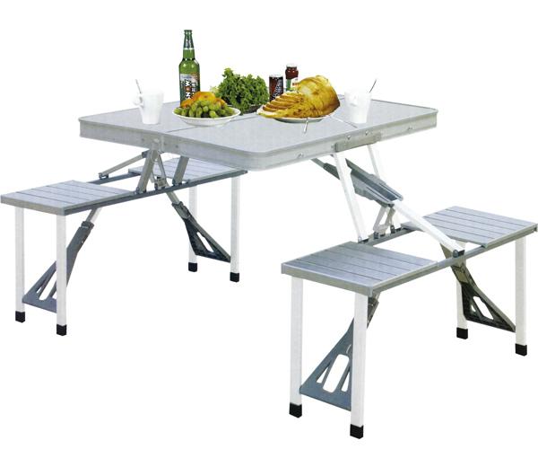 Mesa Konrad Dobravel Aluminio com 4 Banquetas - Nautika - Loja Portal