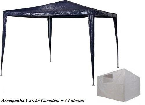 Tenda Gazebo Ráfia Base e Topo 3mx3m + Dois Conjuntos de Paredes Laterais Ráfia - Mor - Loja Portal