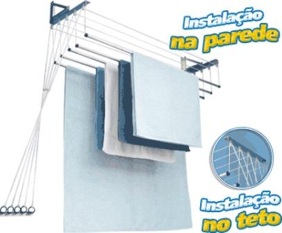 Varal Individual de Teto ou Parede Alumni 1,50m Alumínio - Maxeb - Loja Portal
