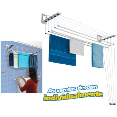 Varal Individual de Teto ou Parede Innovar 1,50m Aço - Maxeb - Loja Portal