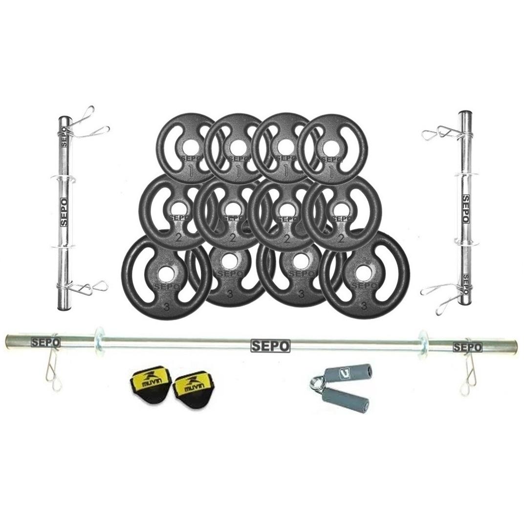 Kit Promocional Completo Anilhas e Barras + Luva + Hand Grip - Loja Portal