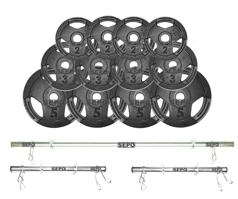 Kit de Anilhas Sport Luxo 40 Kg + Barras com Presilhas - Loja Portal