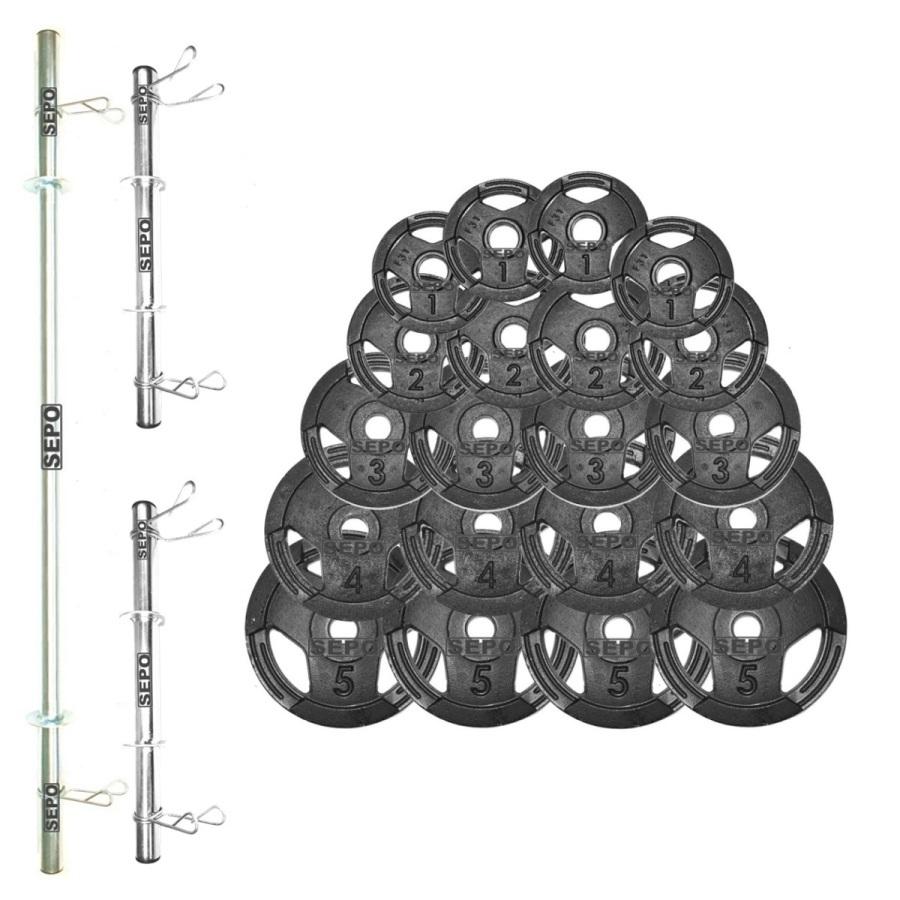 Kit de Anilhas Sport Luxo 60 Kg + Barras com Presilhas - Loja Portal