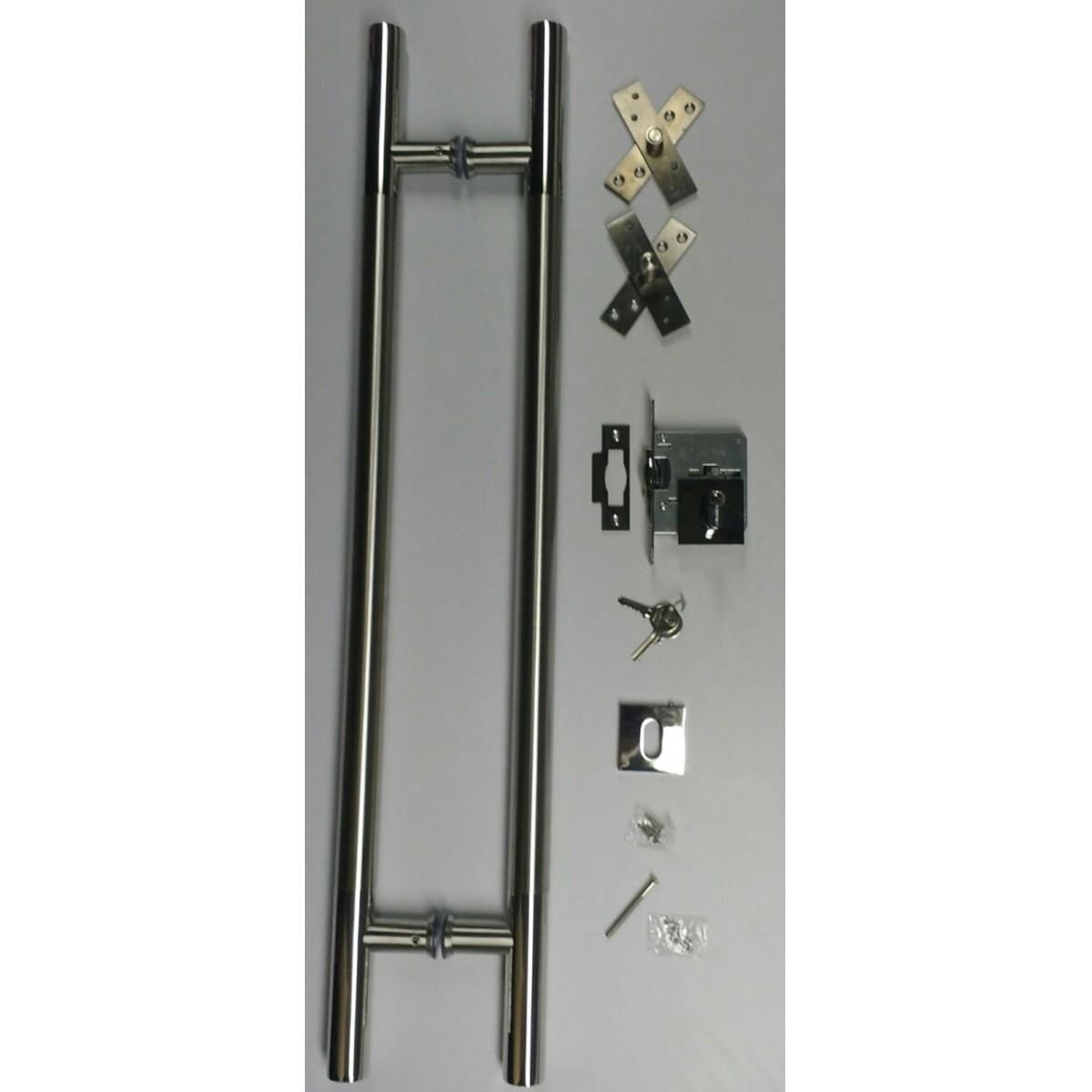 Kit para porta puxador tubolar misto 32 mm fechadura rolete e dobradiça em inox 80 cm