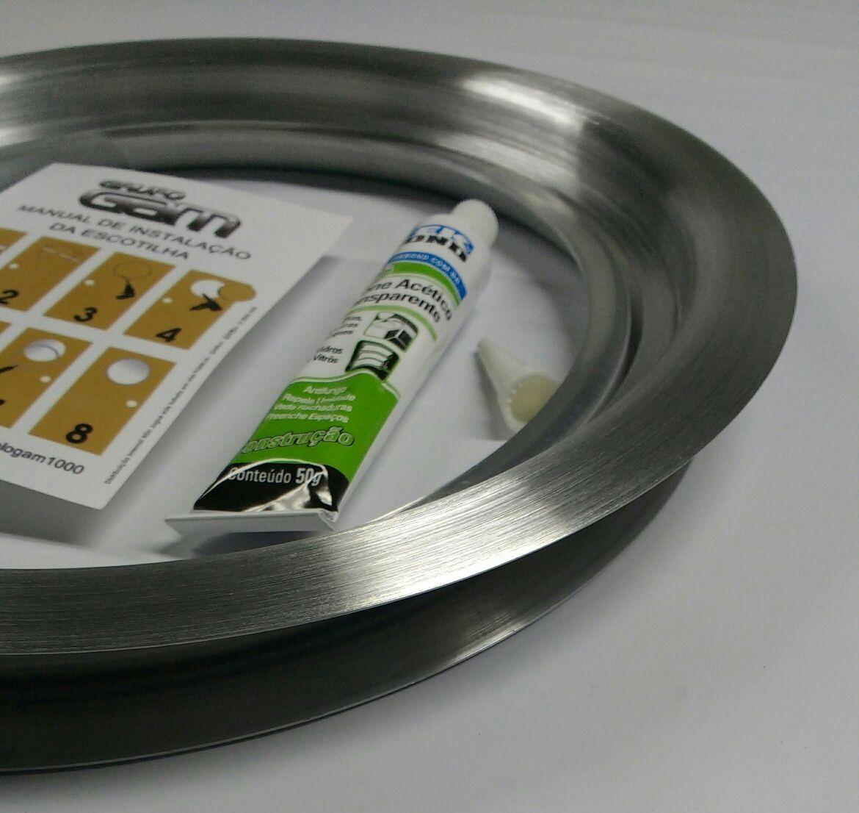 Ma-04/kit 26/31 cm escotilha escovada + vidro + silicone   Promoção por tempo limitado