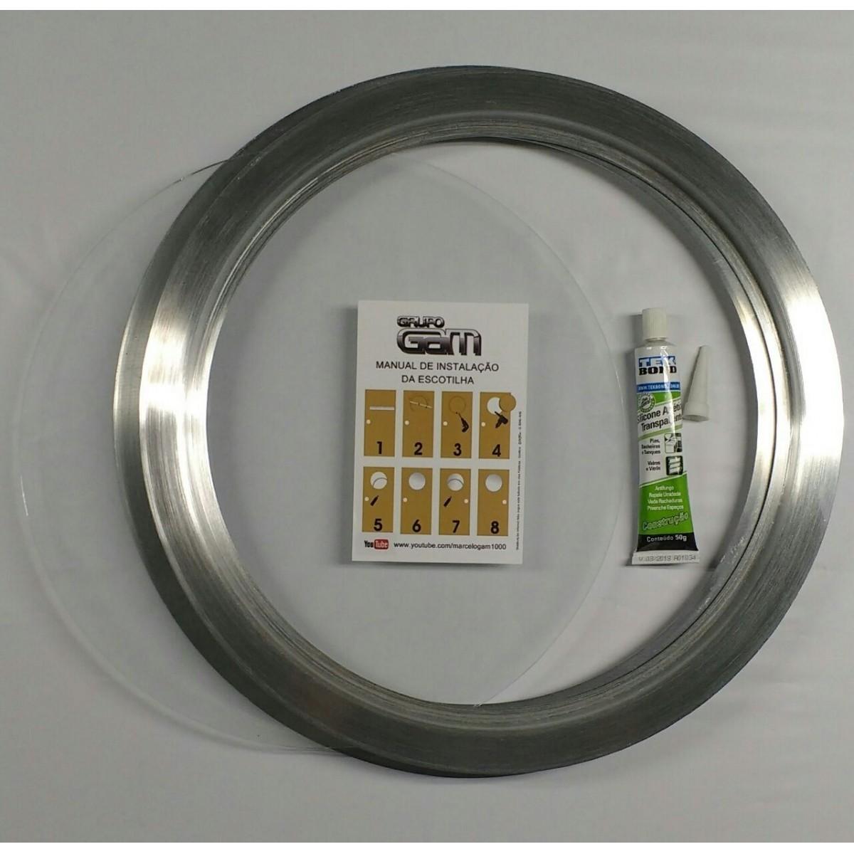 Ma-05/2 kit 35/39cm escotilha escovada+vidro+silicone