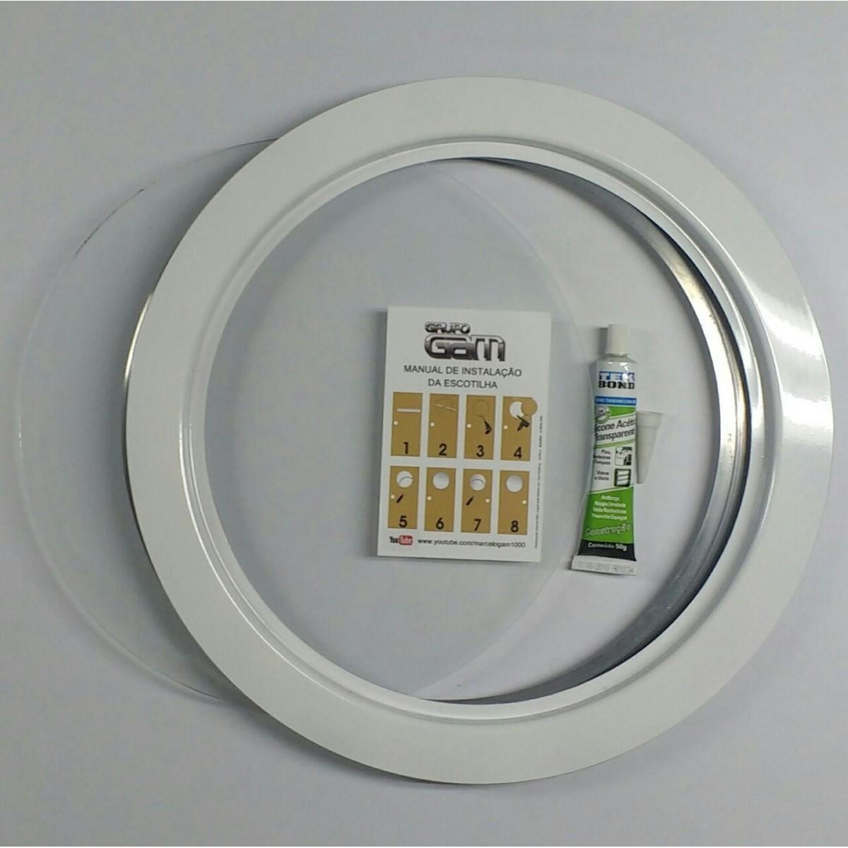 Ma-05/kit 35/42 cm escotilha branca+vidro+silicone