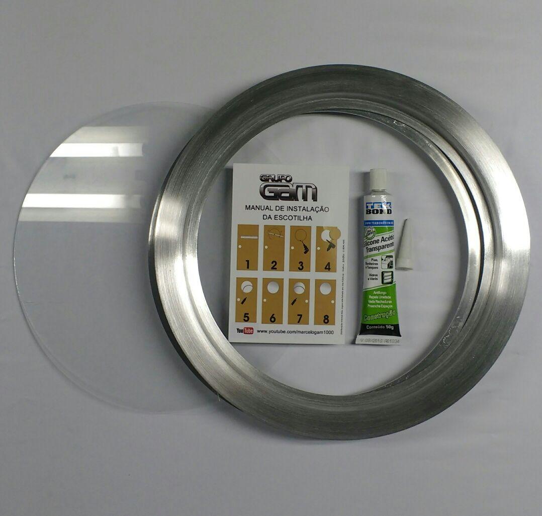 Ma-05/kit 35/42 cm escotilha escovada+vidro+silicone