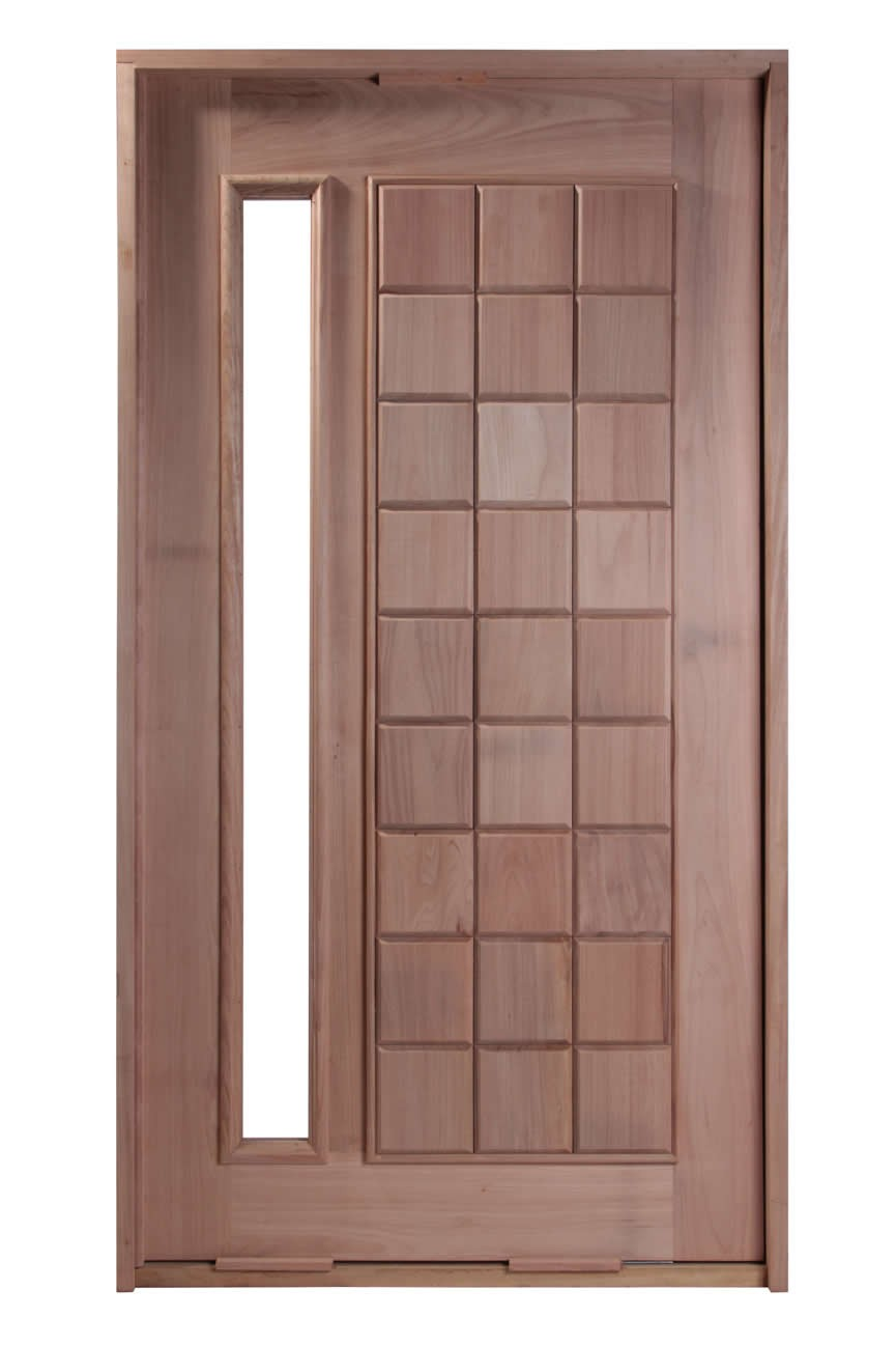Porta Pivotante de Madeira Maciça - Mosaico