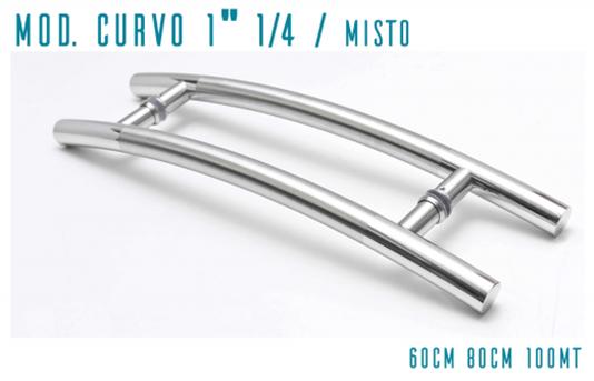 Puxador Inox Curvo Misto Polido/Escovado 1. 1/4¨x 80 cm