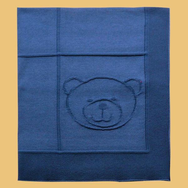 Manta Jacquard Urso Azul Royal