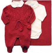 11.460 - Kit Maternidade Jacquard Tranças com Body e Pompom