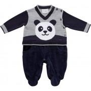12.0036 - Macacão Plush Jacquard Panda