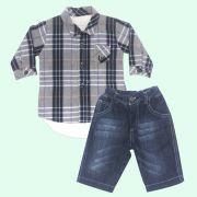 Conjunto Body Camisa Xadrez
