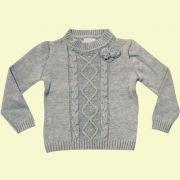 Sweater com Tran�as e Flor