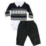 AE20.073 - Conjunto de Body Sweater Jacquard com Losangos