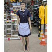 Uniforme para Copeira Faxineira Empregada Domestica Azul Marinho