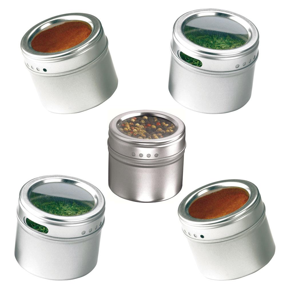 Porta Temperos e Condimentos com Imã na Base em Aço Inox 4 Potes e 1 Suporte