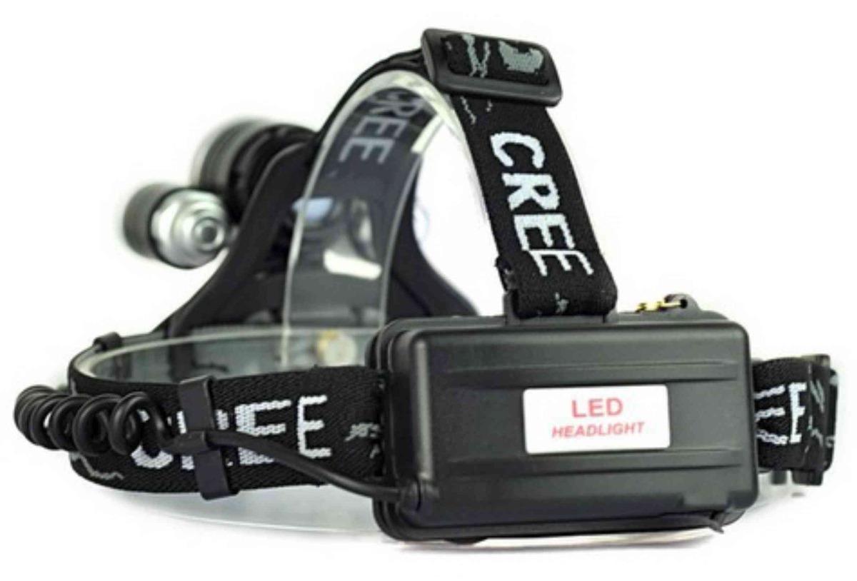 Farol Bike Lanterna Cabeça Led Triplo 1 T6 + 2 Cree R2