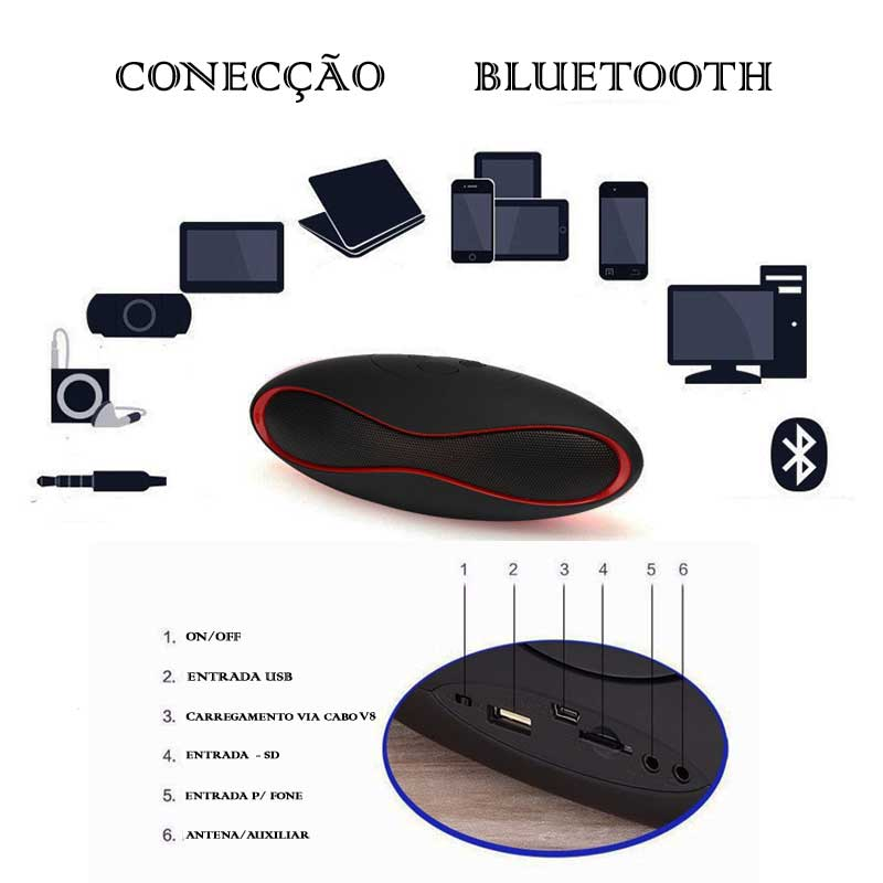 Caixa de Som Portátil Bluetooth Mp3 Pendrive Sd Bt-803l c/ Led