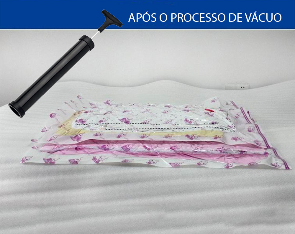 Kit Bomba Organizador a vácuo + 03 Sacos de vácuo