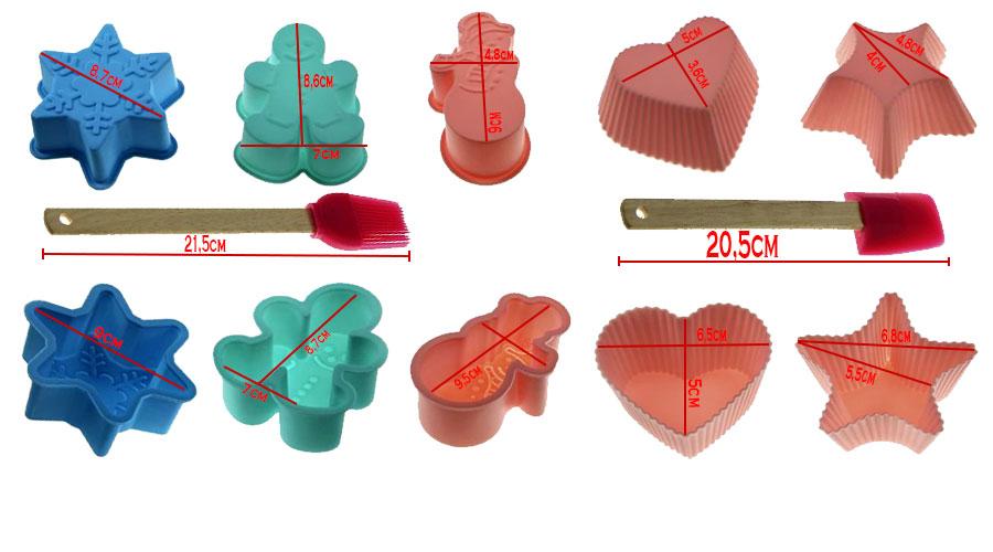 Kit Formas de Silicone Espatula Pincel  09 Peças