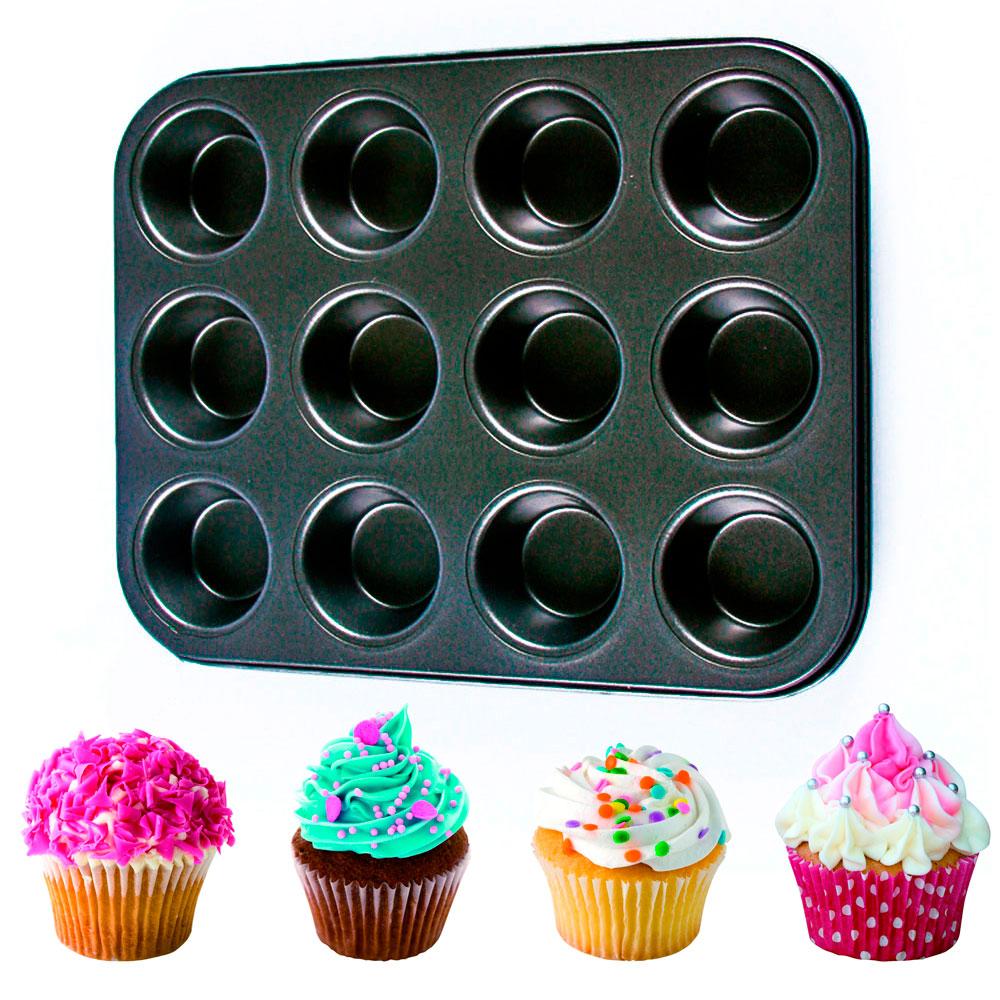 Forma de Cupcake, Pão de Queijo com 12 Cavidades Teflon Antiaderente