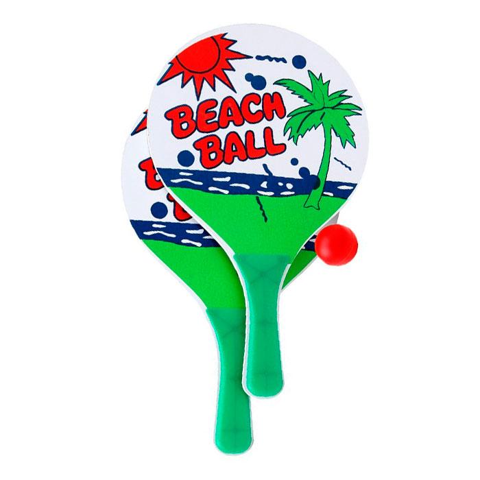 Kit Jogo Frescobol 2 Raquete + 1 Bolinha
